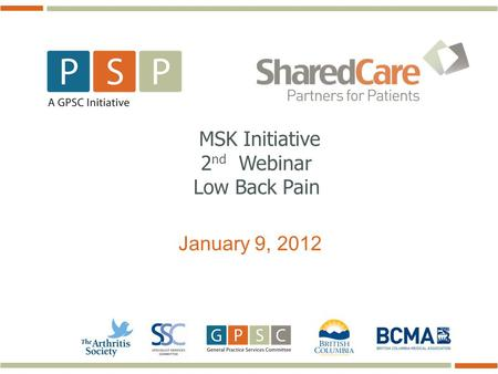 January 9, 2012 MSK Initiative 2 nd Webinar Low Back Pain.