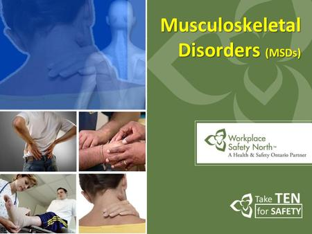 Take TEN for SAFETY – Musculoskeletal Disorders (MSDs) 1 Musculoskeletal Disorders (MSDs)