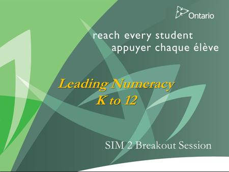 1 SIM 2 Breakout Session Leading Numeracy K to 12.