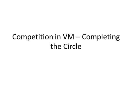 Competition in VM – Completing the Circle. Previous work in Competitive VM Mainly follower's perspective: given state (say of seed selection) of previous.