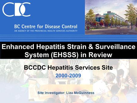 Enhanced Hepatitis Strain & Surveillance System (EHSSS) in Review 2000-2009 BCCDC Hepatitis Services Site Site Investigator: Liza McGuinness.