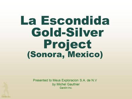 La Escondida Gold-Silver Project