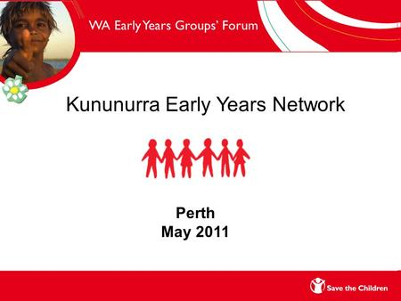 WA Early Years Groups' Forum Kununurra Early Years Network Perth May 2011.