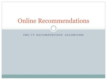 Online Recommendations