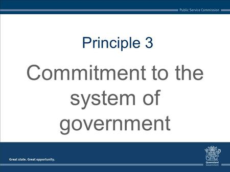 Principle 3 Commitment to the system of government.