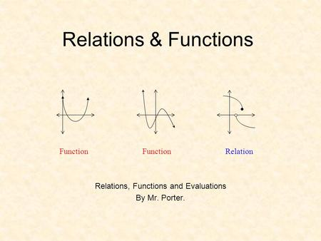 Relations, Functions and Evaluations By Mr. Porter.