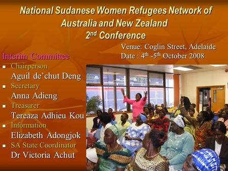 National Sudanese Women Refugees Network of Australia and New Zealand 2 nd Conference National Sudanese Women Refugees Network of Australia and New Zealand.