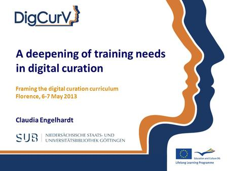 A deepening of training needs in digital curation Claudia Engelhardt Framing the digital curation curriculum Florence, 6-7 May 2013.