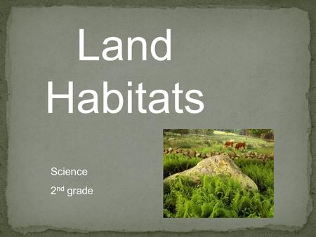 Land Habitats Science 2 nd grade. Where Plants and Animals Live Habitat is a place where plants and animals can meet their needs. Animals get food, water,