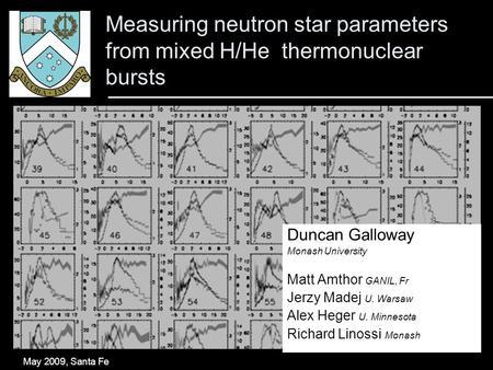 Measuring neutron star parameters from mixed H/He thermonuclear bursts May 2009, Santa Fe Duncan Galloway Monash University Matt Amthor GANIL, Fr Jerzy.