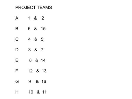 PROJECT TEAMS A 1 & 2 B 6 & 15 C 4 & 5 D 3 & 7 E 8 & 14 F 12 & 13 G 9 & 16 H 10 & 11.