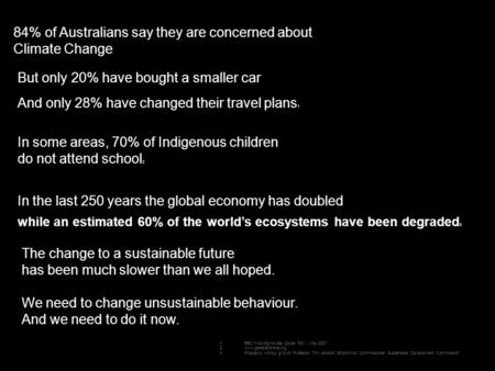 84% of Australians say they are concerned about Climate Change But only 20% have bought a smaller car And only 28% have changed their travel plans 1 In.
