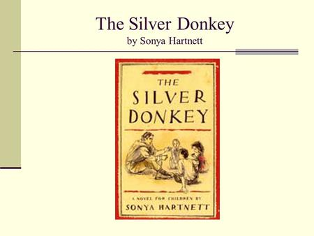 The Silver Donkey by Sonya Hartnett. The Silver Donkey One bright spring morning in the woods of France, a soldier blinded by the war (WWI), is found.