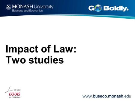 Impact of Law: Two studies. Studies in Law and Society Editors: Professor Chris Arup, Professor Martin Chanock, Professor Sally Engle Merry, Professor.