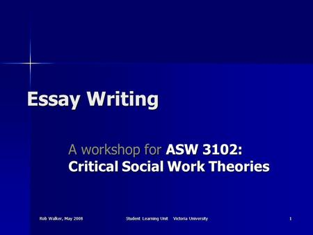 Rob Walker, May 2008Student Learning Unit Victoria University1 Essay Writing A workshop for ASW 3102: Critical Social Work Theories.