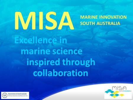 Excellence in MISA marine science inspired through collaboration MARINE INNOVATION SOUTH AUSTRALIA.