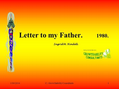 1/09/2014C.: Growthability Consultants1 Letter to my Father. 1980. Ingrid M. Hindell. Sharing what we all need to know!