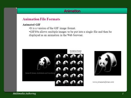 Multimedia Authoring1 Animation Animation File Formats Animated GIF It is a version of the GIF image format. GIF89a allows multiple images to be put into.