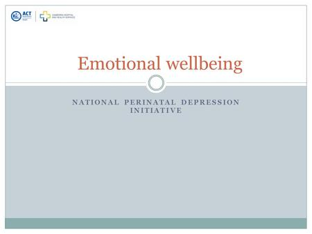 NATIONAL PERINATAL DEPRESSION INITIATIVE Emotional wellbeing.