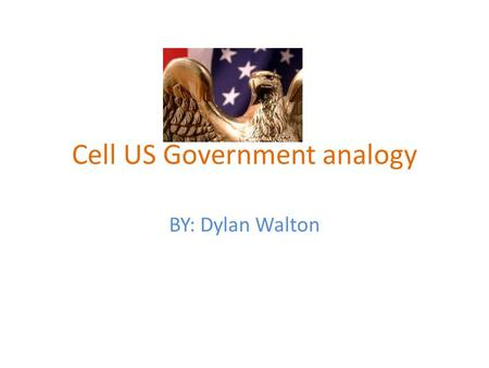 Cell US Government analogy BY: Dylan Walton. Mitochondria to senators The mitochondria is like the senators because they make rules available to the nation.