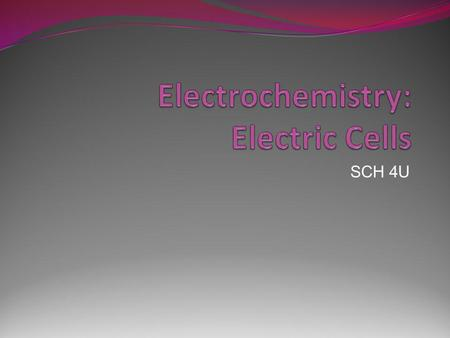 Electrochemistry: Electric Cells