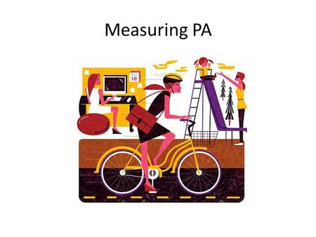 Measuring PA. What aspects of PA do we measure? Timeframe – day, week, month etc. Sport and exercise vs PA Domains – Leisure time- household / gardening.