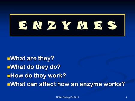 E N Z Y M E S What are they? What do they do? How do they work?