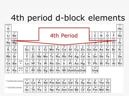 4th period d-block elements 4th Period. d-block elements  center block of periodic table transition elements d-sub level partially filled in one or more.