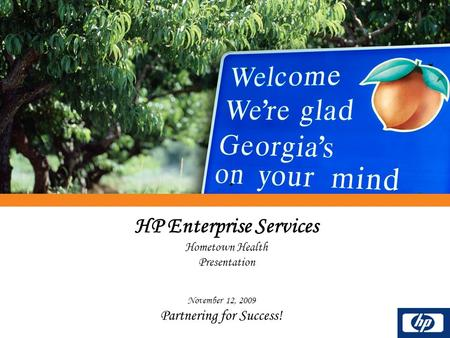 HP Enterprise Services Hometown Health Presentation November 12, 2009 Partnering for Success!