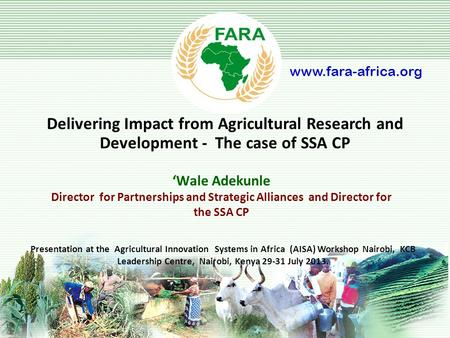 'Wale Adekunle Director for Partnerships and Strategic Alliances and Director for the SSA CP Delivering Impact from Agricultural Research and Development.