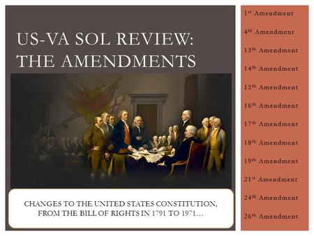 US-VA SOL Review: The Amendments