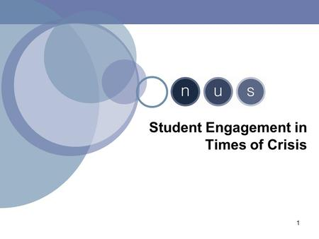 1 Student Engagement in Times of Crisis. Session Aims By the end of the session you will be able to: analyse what kind of relationship you have with your.