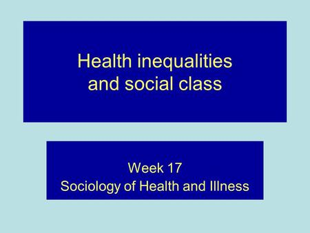 sociological perspectives on health and illness 2018-7-17  the sociology of health and illness covers sociological pathology  they give meaning to illness and health,  sociology of health & illness,.