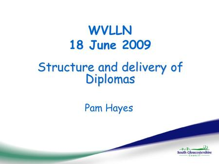 Structure and delivery of Diplomas WVLLN 18 June 2009 Pam Hayes.