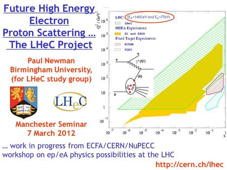 Future High Energy Electron Proton Scattering … The LHeC Project Paul Newman Birmingham University, (for LHeC study group) Manchester Seminar 7 March 2012.