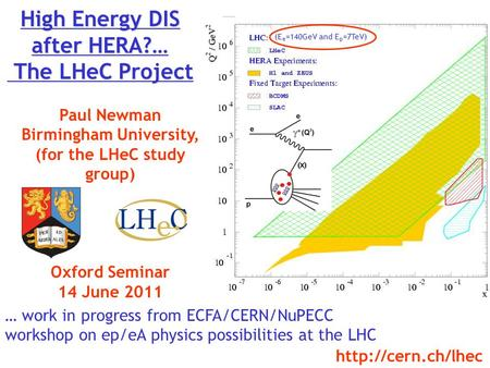 High Energy DIS after HERA?… The LHeC Project Paul Newman Birmingham University, (for the LHeC study group) Oxford Seminar 14 June 2011