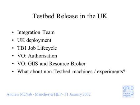 Andrew McNab - Manchester HEP - 31 January 2002 Testbed Release in the UK Integration Team UK deployment TB1 Job Lifecycle VO: Authorisation VO: GIIS and.