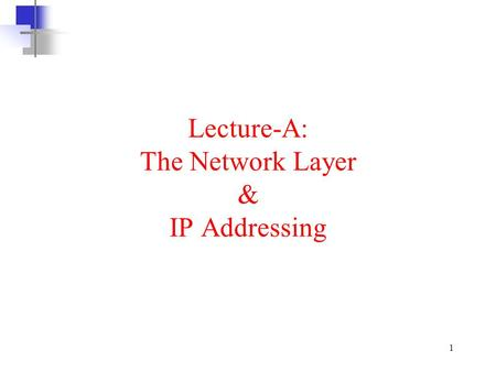 1 Lecture-A: The Network Layer & IP Addressing. 2 Where is the network layer? a)There are 7 layers from OSI model and 5 layers from TCP/IP model (as discussed.
