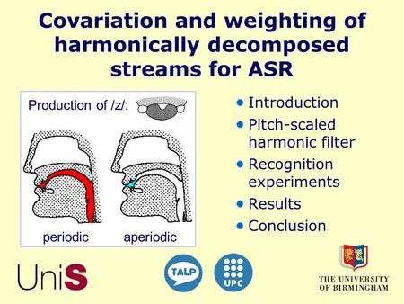 aperiodic periodic Production of /z/: Covariation and weighting of harmonically decomposed streams for ASR Introduction Pitch-scaled harmonic filter Recognition.