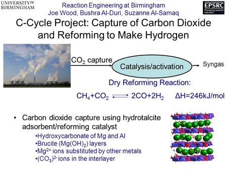 Reaction Engineering at Birmingham Joe Wood, Bushra Al-Duri, Suzanne Al-Samaq C-Cycle Project: Capture of Carbon Dioxide and Reforming to Make Hydrogen.