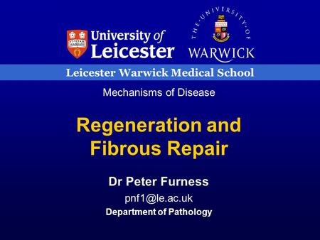 Leicester Warwick Medical School Mechanisms of Disease Regeneration and Fibrous Repair Dr Peter Furness Department of Pathology.