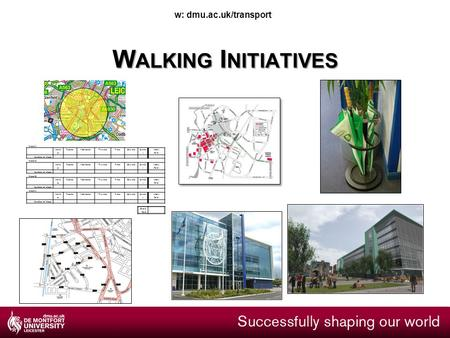 W: dmu.ac.uk/transport W ALKING I NITIATIVES Week 1 Mond ay TuesdayWednesdayThursdayFridaySaturday Sunda y Weekly Total Number of steps Week 2 Mond ay.