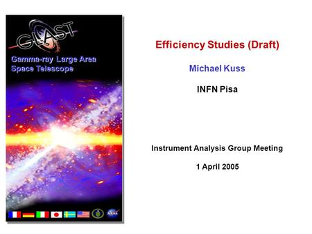 Gamma-ray Large Area Space Telescope Efficiency Studies (Draft) Michael Kuss INFN Pisa Instrument Analysis Group Meeting 1 April 2005.