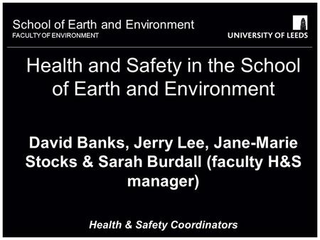School of something FACULTY OF OTHER School of Earth and Environment FACULTY OF ENVIRONMENT Health and Safety in the School of Earth and Environment David.