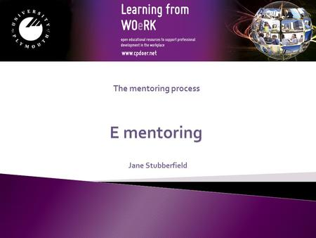 The mentoring process Jane Stubberfield E mentoring