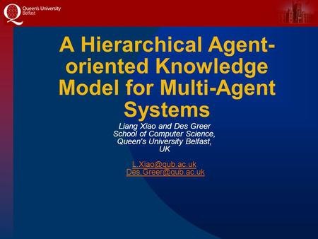 A Hierarchical Agent- oriented Knowledge Model for Multi-Agent Systems Liang Xiao and Des Greer School of Computer Science, Queen's University Belfast,