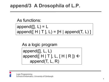 1 Logic Programming School of Informatics, University of Edinburgh append/3 A Drosophila of L.P. append([], L, L) append([ H | T ], L, [ H | R ])  append(T,