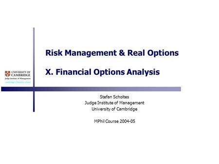 Risk Management & Real Options X. Financial Options Analysis Stefan Scholtes Judge Institute of Management University of Cambridge MPhil Course 2004-05.