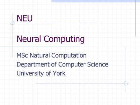NEU Neural Computing MSc Natural Computation Department of Computer Science University of York.