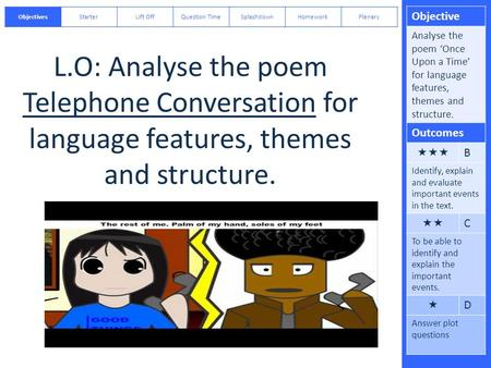 Objective Analyse the poem 'Once Upon a Time' for language features, themes and structure. Outcomes  B Identify, explain and evaluate important events.